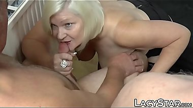 Busty GILF Lacey Starr threesome toy teasing and deepthroat
