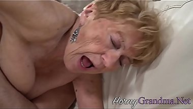 Buxom grandma sucks hard dick