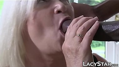 Voluptuous Brit granny IR stretched with huge black cock