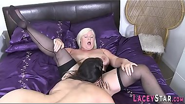 Stockinged granny licks