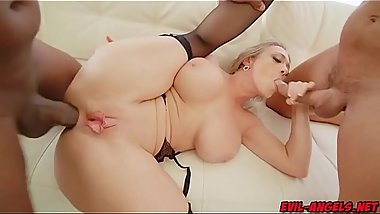 The insatiable MILF gags on Princes big black cock as Ramon drills her twat