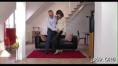 Amateur babe enjoys a fuck session with an older guy