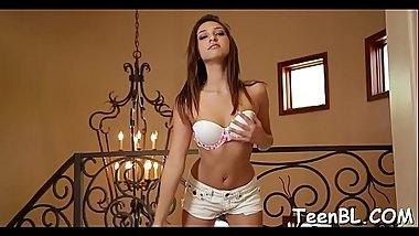 Charming teen is using her mouth to enslave studs knob