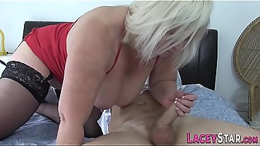 Fingerbanged british granny sucks cock