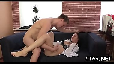 After the gentle blowjob filthy bitch receives a vehement sex