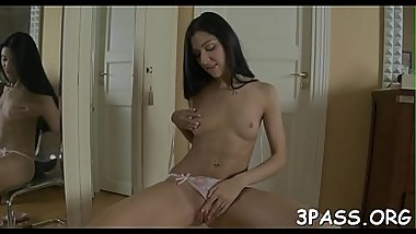 Cutie gives head before feeling dick in cum-hole and anal hole
