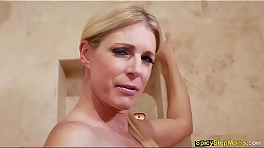 India Summer satisfies her stepsons cock from the bath