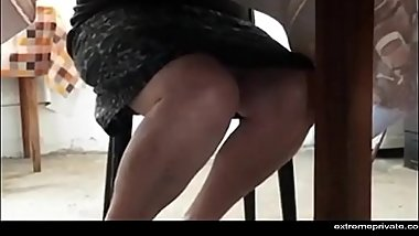 Step mothers pussy under the table