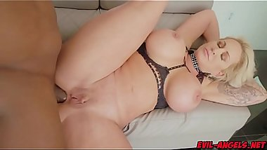 The blonde MILF Ryan Conner drops to her knees as Prince splatters her with a hot cum facial