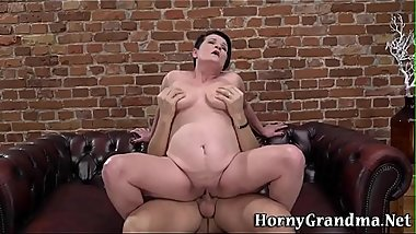 Chubby busty old lady gobbles and rides