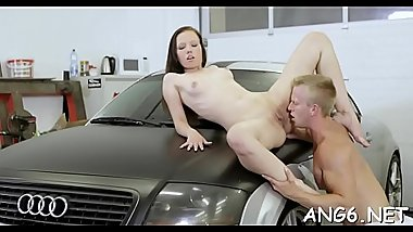 Sweet darling is releasing her needs by sucking studs shaft