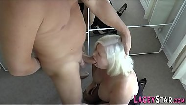 Granny rides and tit fucks big dick