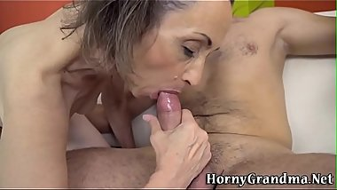 Skinny granny gets fucked and facialized