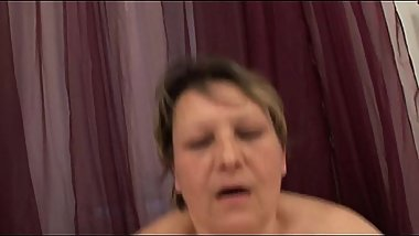 Mature BBW sucking before riding on cock
