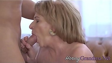 Big titted grandma plowed