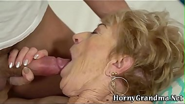 Wrinkly grandma gets banged and spermed