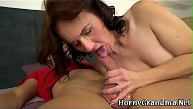 Fingerfucked gran gets banged