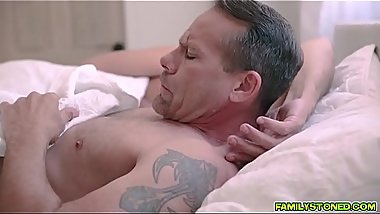 Esperanza Del Horno sucking off her step dads big matured cock deep throat!