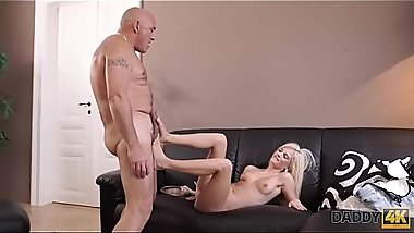 DADDY4K. Massage then old and young sex makes GF and father happy