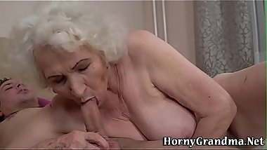 Gray haired grandmother gobbles for cum