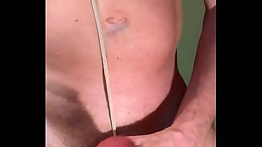 Amature tied up tight with pantyhose and stroking my cock