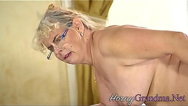 Blonde dirty granny sucks cock for cum