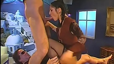 Chap is feeding cumshot into horny babes'_ lusty face holes