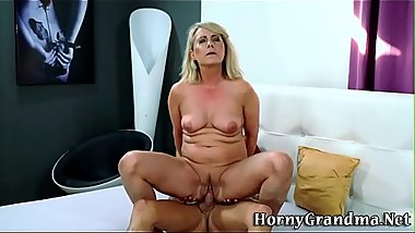 Blonde mature woman rides cock