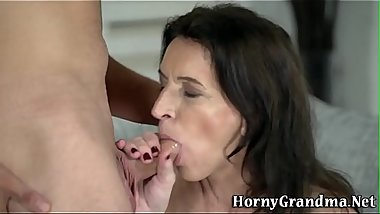 Granny rides jerks and sucks cock