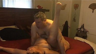 Fucking my big tited wife with her legs up for me