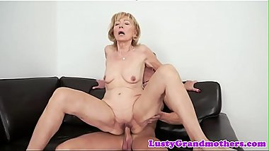 Cum loving granny enjoys sucking dick