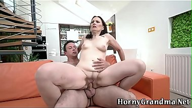 Cock riding and sucking grandmother