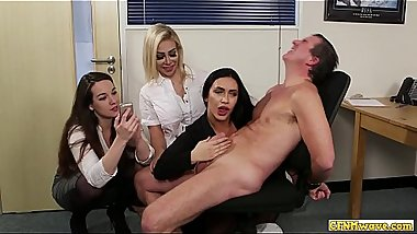 Cocksucking cfnm babes share bj action