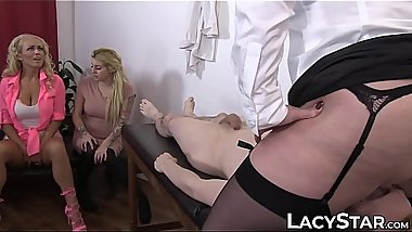 Naughty Lacey Starr bangs young man with her friends